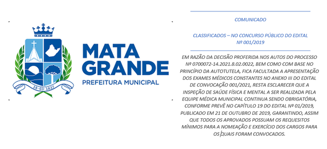 CLASSIFICADOS – NO CONCURSO PÚBLICO DO EDITAL Nº 001/2019