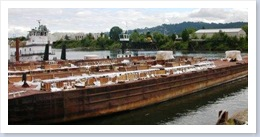 Fireworks barges for Blues Festival and Oaks Park on the Willamette River